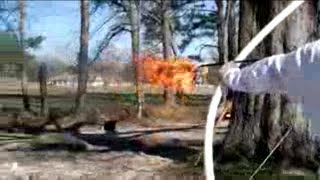 Archer shoots Flaming arrow torches computer assaults with nunchucks!