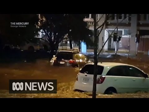Hobart weather: Flash flooding from record rain inundates University and CBD