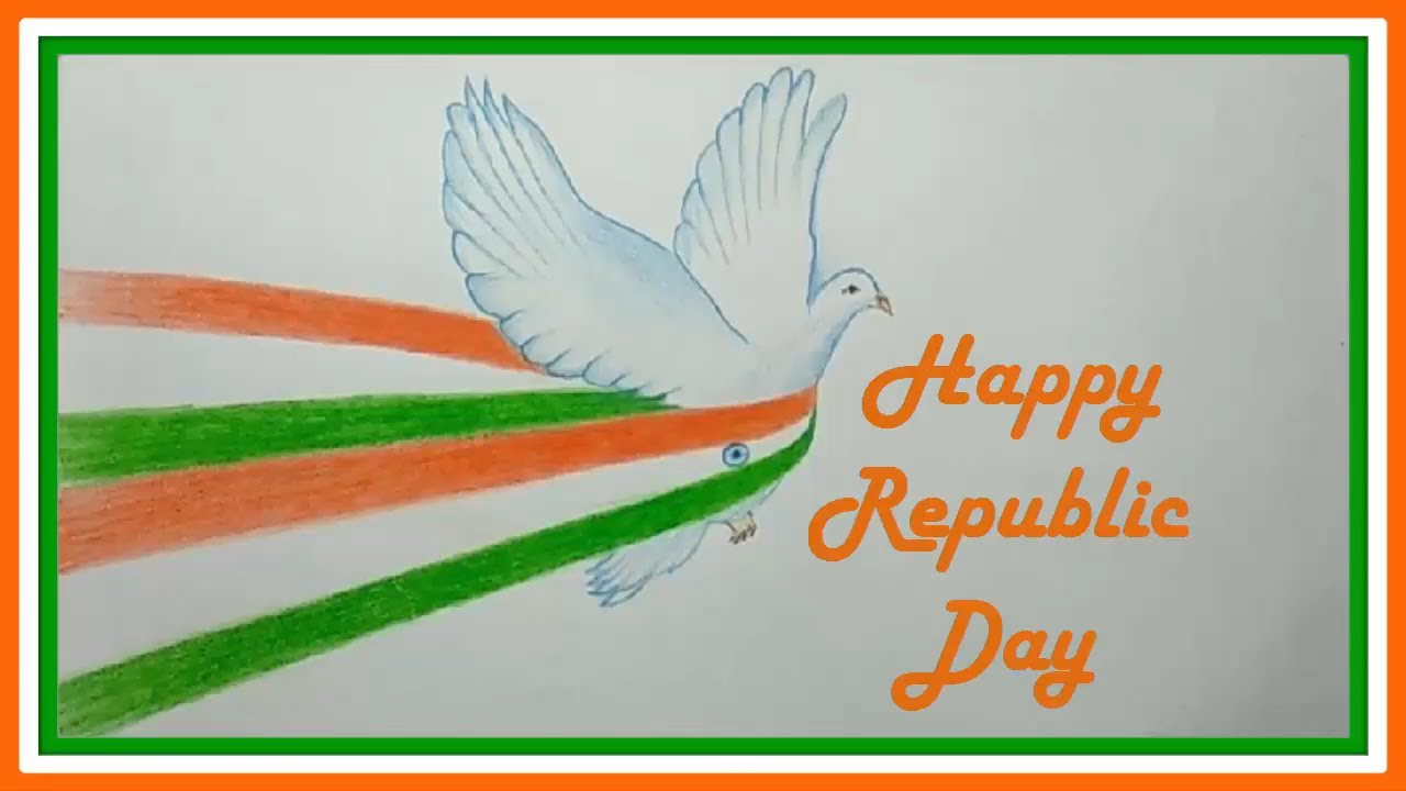 Color Pencil Drawings Drawing Happy Republic Day 2019 Youtube