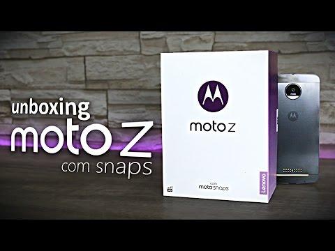 Unboxing e primeiras impressoes do Lenovo Moto Z e seus Snaps.