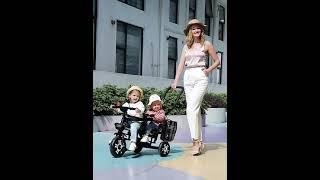 2인용 쌍둥이 어린이 세발자전거 유모차 첫자전거