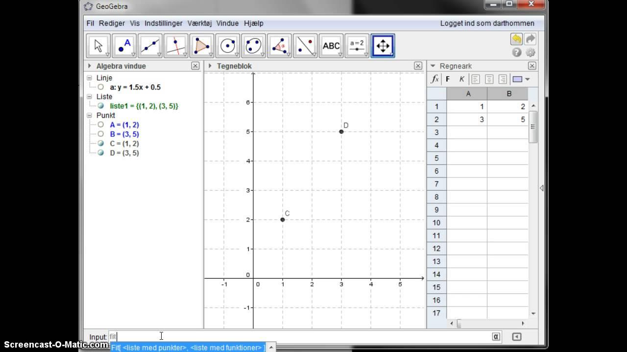Regneforskrift for en lineær funktion i GeoGebra