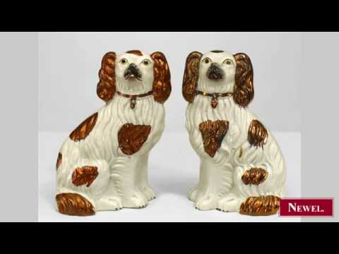 Antique Pair Of English Victorian Small Staffordshire White