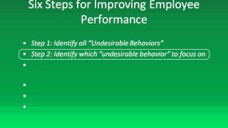 Employee Management:  Six Steps to Improving Employee Performance