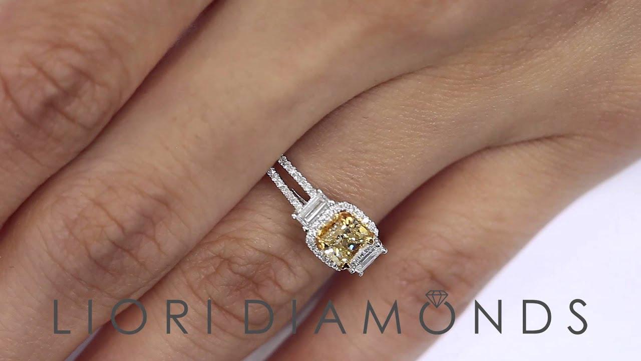 Fd570  125 Ct Natural Fancy Vivid Yellow Cushion Cut Diamond Engagement  Ring 14k Gold