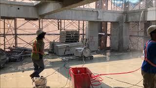 禾盛工程行 繩鋸切割  大飛輪樑柱切割
