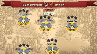 War Defeat  BD Indomitable But Fought well! We Showed Some Of Our Attacks | Clash Of Clans War