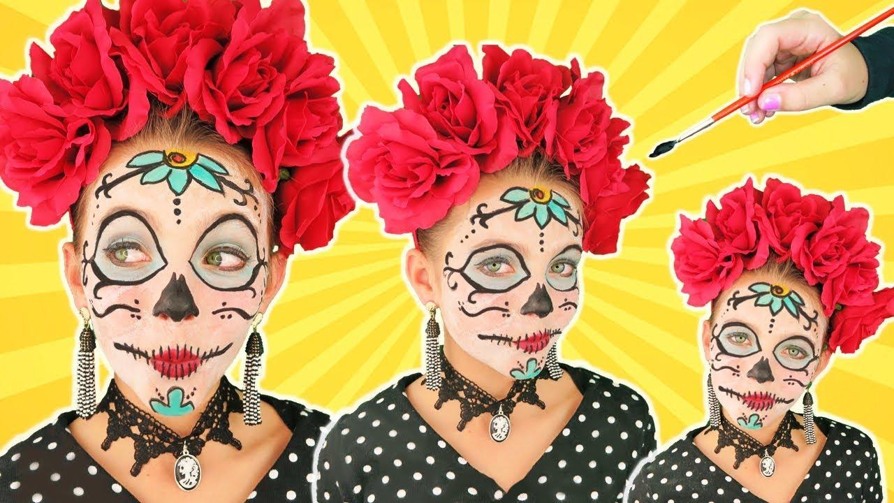 Diy Day Of The Dead Halloween Costume Makeup Tutorial Kids