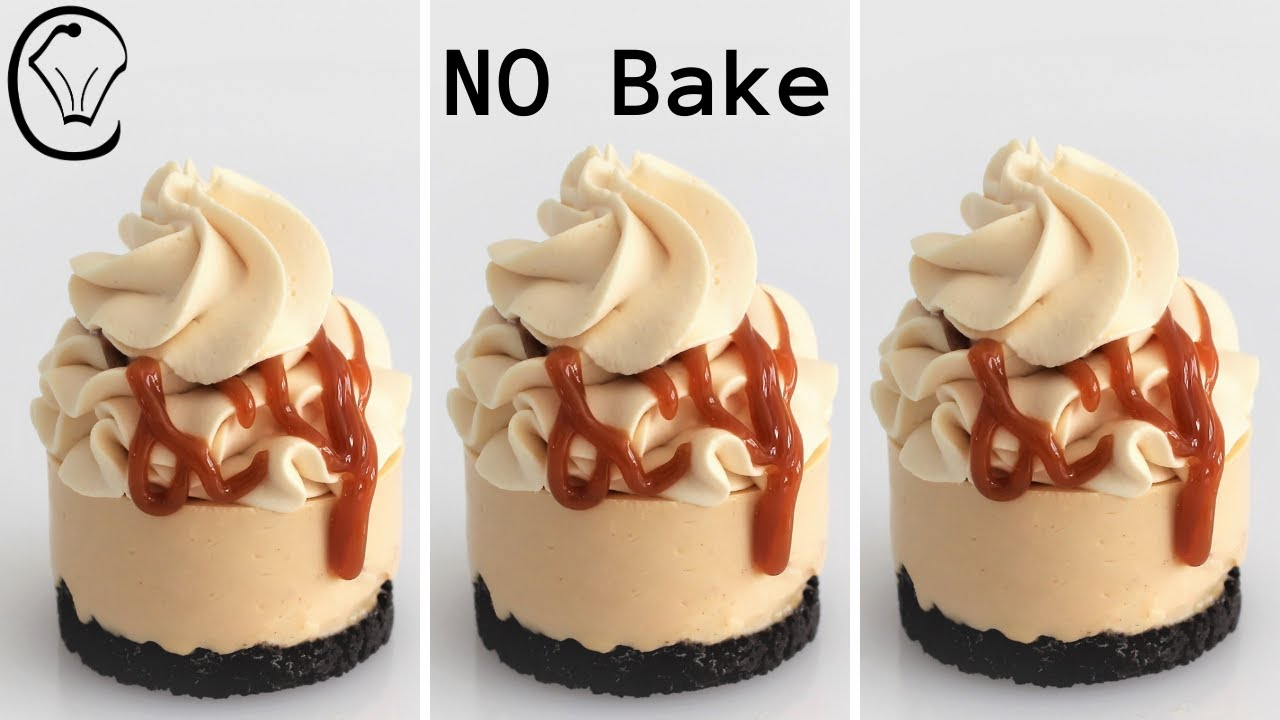 Mini Caramel Cheesecakes Stabilized Whipped Cream NO Bake Make Ahead So Delicious!