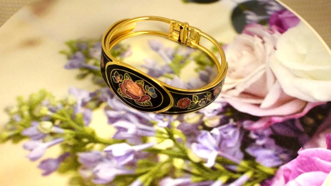 """Винтажный браслет """"Цветы и бабочки на черном"""" клуазоне ..."""
