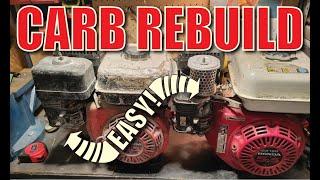 honda gx160 carb rebuild part 1 gx200 gx240 gx270 gx340 gx390
