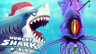 GIANT SQUID BOSS BATTLE!!! - Hungry Shark World   Ep 34 HD