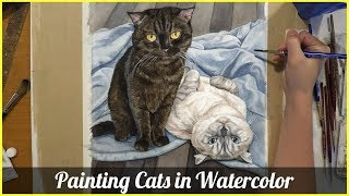 Painting Cats in Watercolor (Morgan and Gaia)