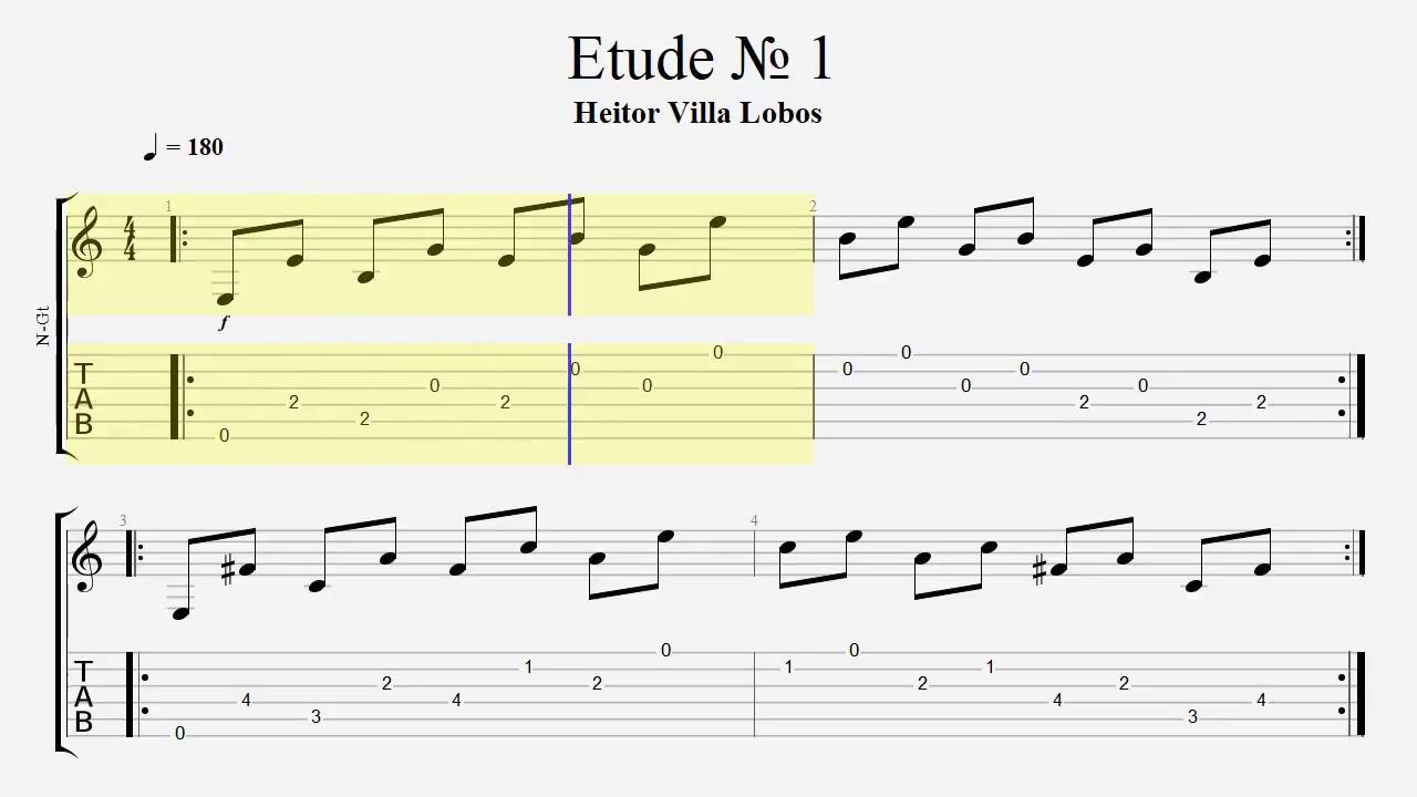 Guitar Tab / Heitor Villa Lobos - Etude 1