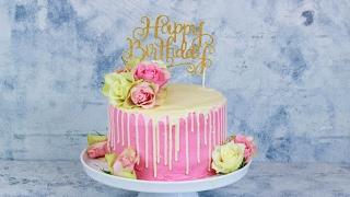 Happy Birthday Rosen Torte - Geburtstagstorte mit echten Rosen / Geburtstags Torte / Drip Cake