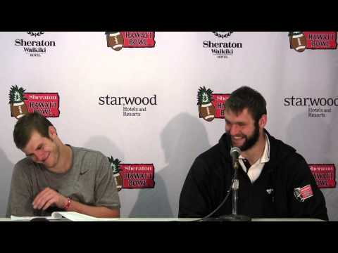 Garrett Gilbert & Margus Hunt postgame - 2012 Hawaii Bowl Champions - SMU 43, Fresno St 10
