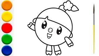 Малышарики - Мультик-Раскраска для детей - НЮШЕНЬКА | Учим Цвета