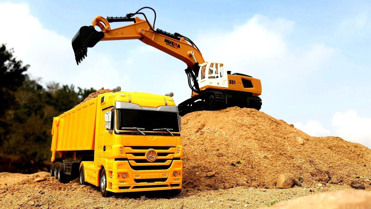 Download Huina RC Excavator & Mercedes Truck In Action | RC Dump Truck | Construction Vehicles | Auto Legends