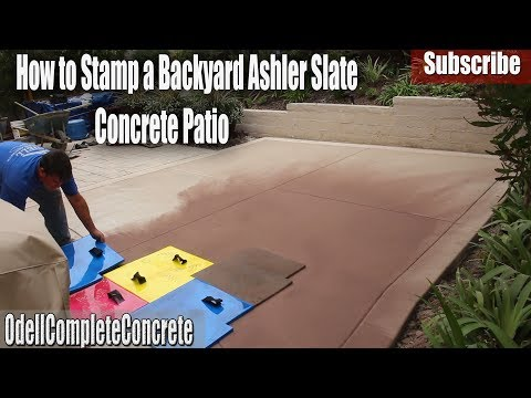How to Stamp an Ashler Slate Colored Concrete Patio Pattern With Colored Bands