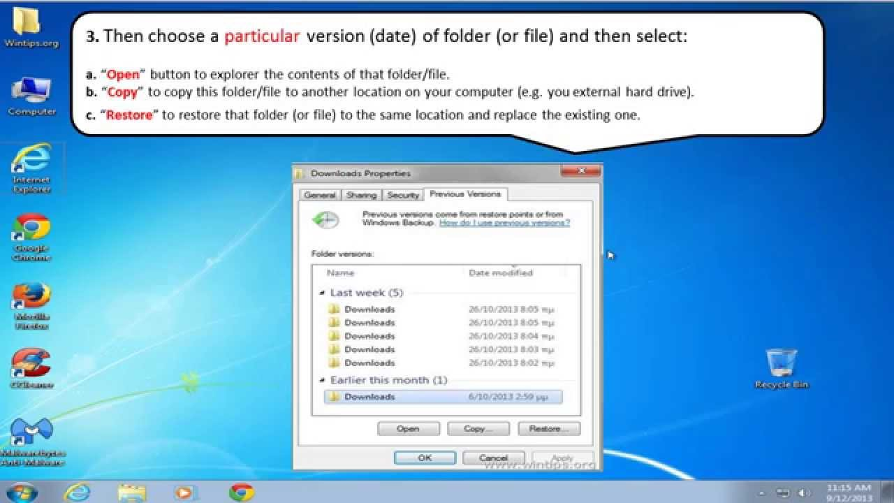 How To Restore Deleted Or Modified File(s) Using Shadow Copies