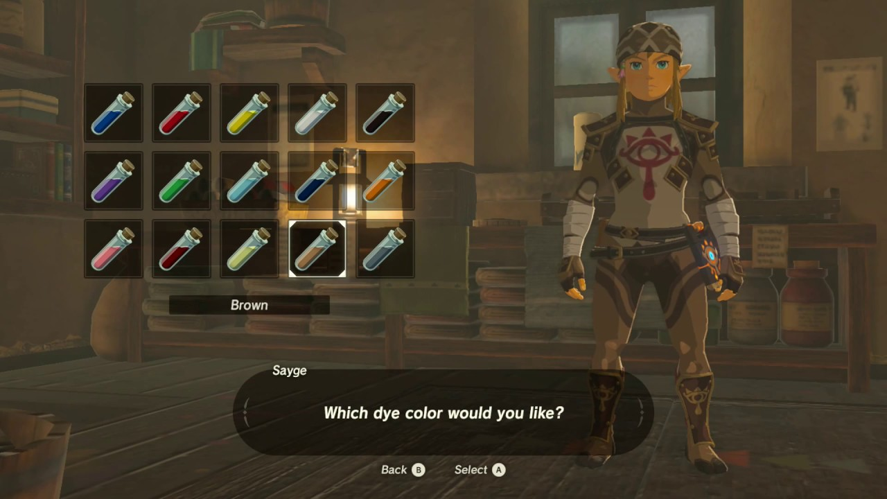 The Legend Of Zelda Breath Of The Wild How To Dye Link S