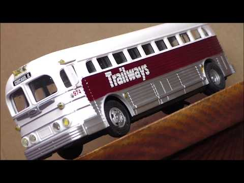 Custom Lighted Trailways Silver Side Bus