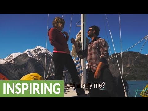 Surprise wedding proposal on a sailboat in Glacier Bay, Alaska