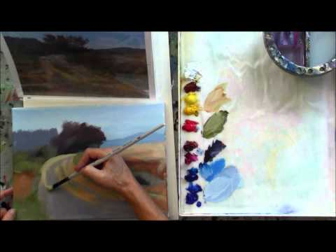 """The Red Tree"" Part 3 – Beginning Step by Step Acrylic Country Road Landscape Painting"