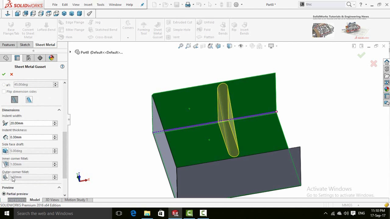 How To Add Gusset Using Sheet Metal Gussets Solidworks