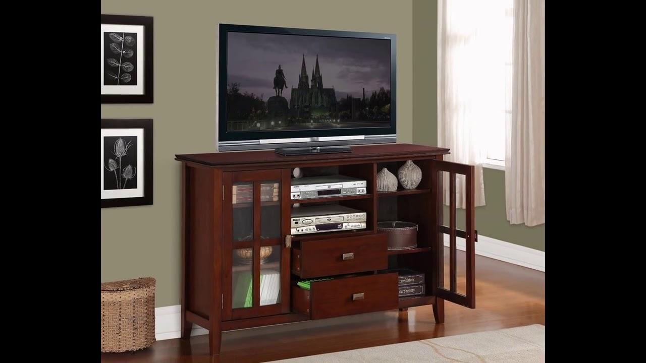 cheap simpli home artisan tv stand 54w x 35h medium auburn brown