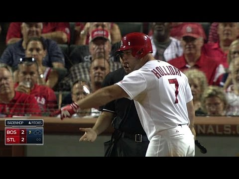 BOS@STL: Holliday ejected after arguing strike call