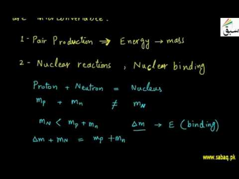Mass energy relation