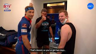 Marcus Stoinis and Steve Smith meet Tom Curran after quarantine