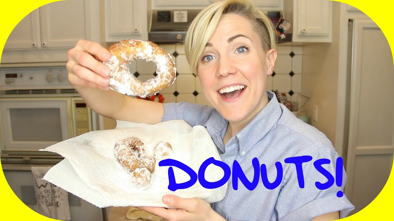 my drunk kitchen: super easy donuts! - youtube