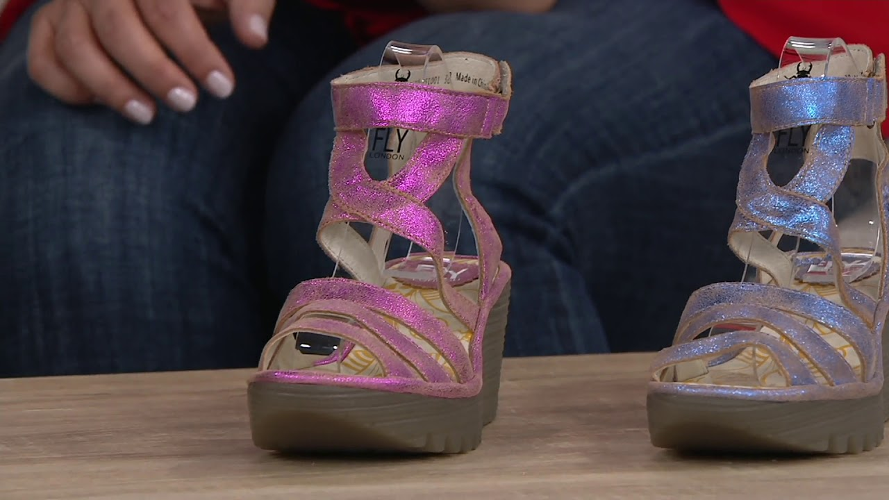 331c0ec604f4 FLY London Leather Ankle Strap Wedges - Yebe on QVC - YouTube