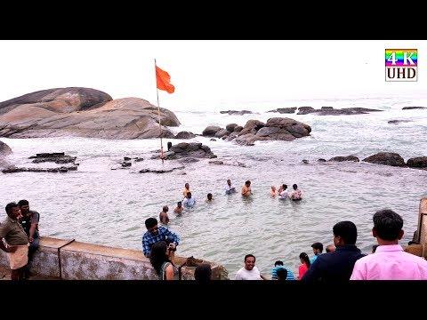 4K-Triveni sangam-Kanya kumari-View of Three Sea-Bay of Bengal- Arabian Sea- Indian Ocean