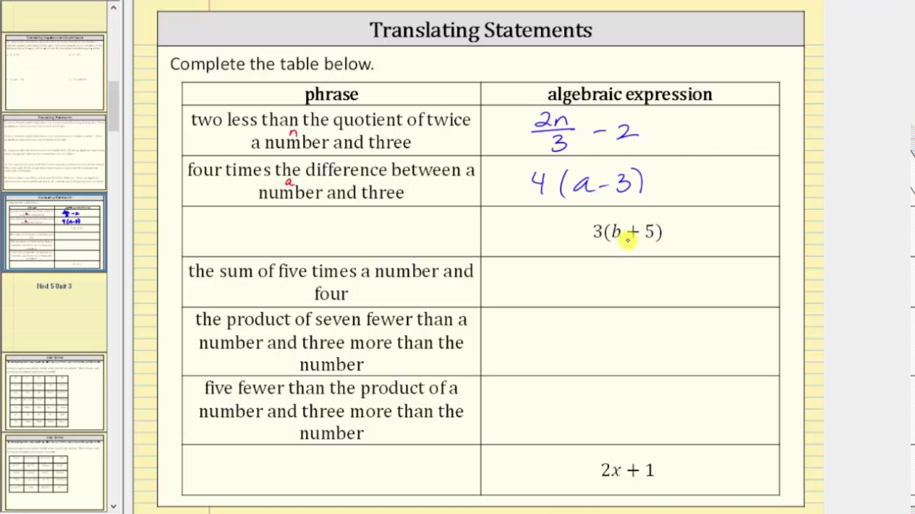 worksheet Translating Expressions translating statements to algebraic expressions key words youtube words