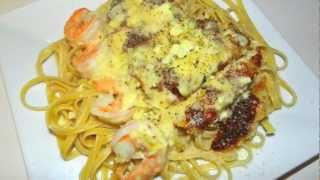 Chicken And Shrimp Fettucini Recipe - Delicious Italian Food