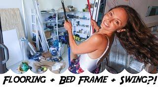 Converting a Sprinter Van | Week 2 | Flooring, Bed Frame, Sink and SWING!?