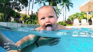 Funniest Moment Go Swimming Of Baby - Funny Baby Videos