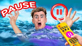 PAUSE CHALLENGE    WOW, Paused UNDERWATER for 24 HOURS!? Surviving Prank Wars by 123 GO! CHALLENGE