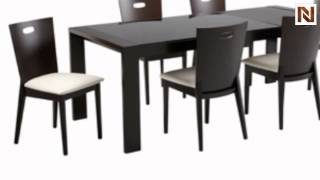 Sunpan Malcolm Dining Table-6 Chairs Faux Leather White 63796-6L