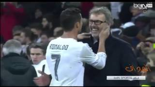 Ronaldo speaks with Laurent Blanc after match