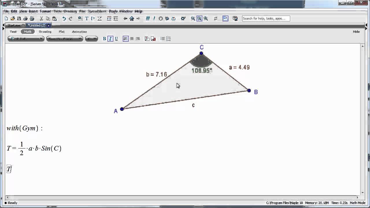 Maple 18 - Sådan beregnes arealet af en vilkårlig trekant vha arealformlen med sinus