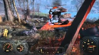 Fallout 4 - Vertibird Crash Site, Synth Patrol Unit Kills Stunted Tao Guai Bear Gameplay Sequence