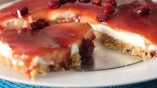 Easy No Bake Cranberry Jelly Cheesecake Recipe Video