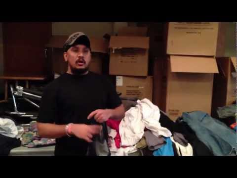Collecting clothes for Homeless people