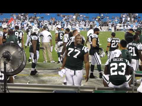 Charlotte NY Jets Fans - Kris Jenkins taunting a Panthers fan