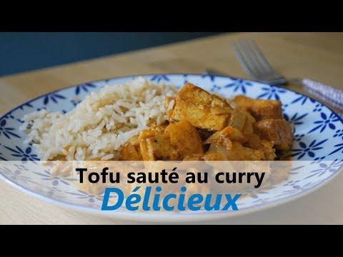 RECETTE vegan, facile & rapide / 178 Kcal - Tofu sauté au curry - Riche en protéines, oméga 3 et fer