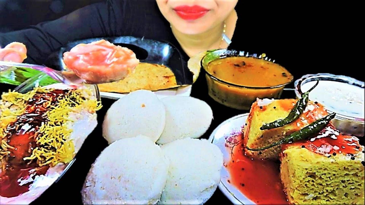 SOUTH INDIAN DELICIOUS FOOD ASMR DOI BORA+DHOKLA+DOSA+IDLI+SAMBAR+COCONUT CHUTNEY FOOD EATING VIDEOS